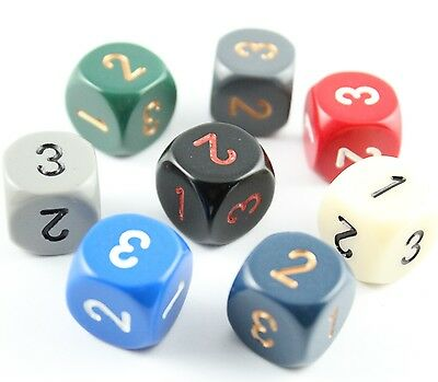 dadi d3 (due volte 1,2,3) OPACHI Chessex COLORE CASUALE Opaque D&D RPG tre facce
