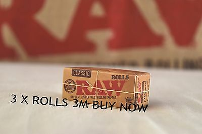 3 X Raw Classic Rolls 3 Meters - King Size 3M Roll Per Pack 54Mm Wide