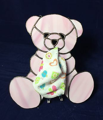 Stained Glass sleepy teddy bear (pink)