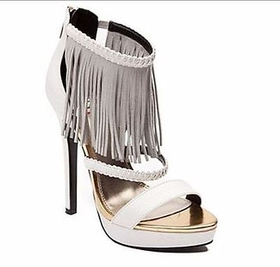 87ae8674163 NEW SHI BY Journeys High Heel Chill Ankle Strap White W65 lr