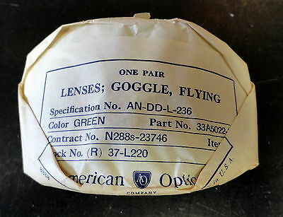 An-6530/b-7 Flying Goggle Green Tinted Lenses Orig. New In Wrap