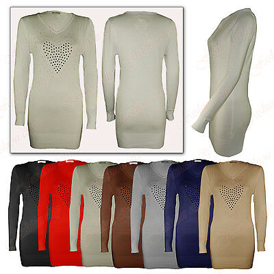 Womens Ladies Soft Stretch Knitted Heart Diamantes Long Sleeve V Neck Jumper Top