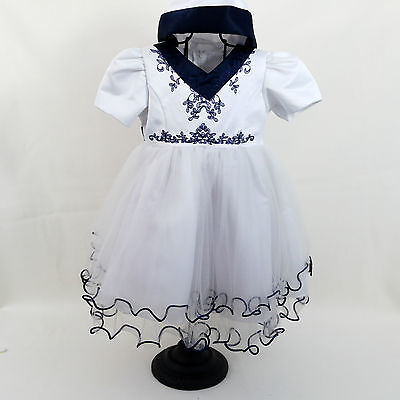Baby Girls White Flower Girl Bridesmaid Sailor Style Party Dress Age 18-24 Month