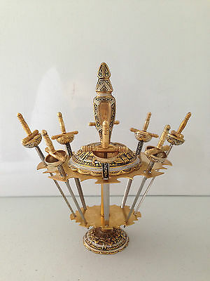 Vintage Retro Quirky Toledo 8 Sword Cocktail Stick Set On Stand Brass Silver
