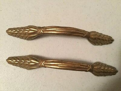 VINTAGE BRASS DRAWER PULLS Set Of 2 Wheat Pattern