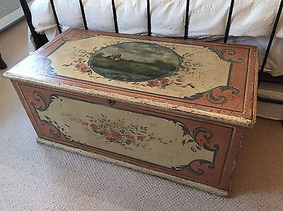 Antique Painted Trunk, Lovely Patina And Condition, Well Painted, Subtle Colours