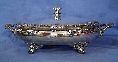 Antique Silverplate REED & BARTON Serving Covered Casserole Vegetable Dish c1899