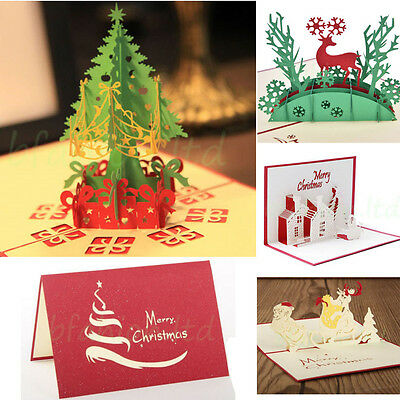 5pc/Lot 3D Pop Up Christmas Cards Creative Origami Greeting Card Papercraft Gift