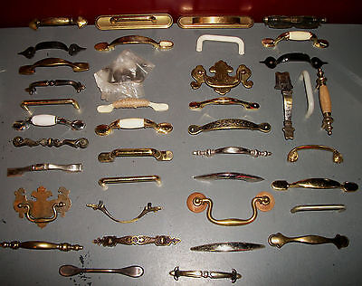 Lot of 40 Miscellaneous Handles Door Drawers Cabinet Pulls Hardware Projects