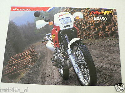 H444 Honda  Brochure Nx650 Dominator 1995 ? Dutch 6 Pages Is Damaged