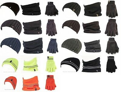 Men Heat Holders Heatweaver Winter Warm Thermal Hat, Neck Warmer & Gloves
