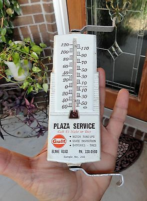 WORKING vintage GULF Gas & Oil ADVERTISING Thermometer BLAKE ROAD Hopkins, MN