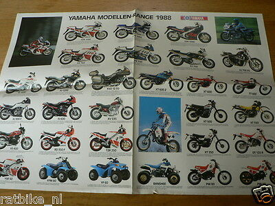Hap-178 Yamaha Poster  Brochure  1988 Models Dutch 4 Pages Folded,tzr250,rd350F