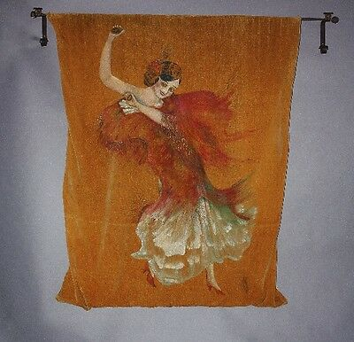 1920s Antique Spanish Revival Hand Painted Tapestry Dancing Senorita (9740)