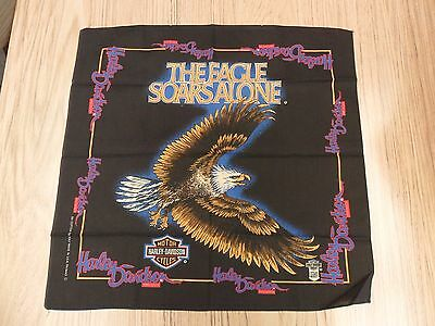 Vintage Harley Davidson Bandana Great Condition The Eagle Soars Alone Scarf