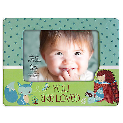 Enesco Inspirations Gregg 4×6 Baby Boy Loved Blue Fox Photo Frame 4049598