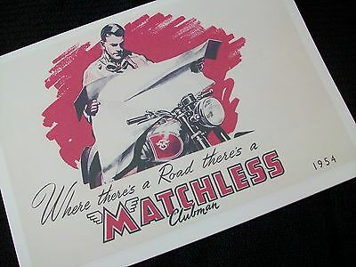 Matchless Motorcycle 1954 Sales Brochure G3/ L, Lc,ls, Lcs, G9, G80/ C, S, Cs