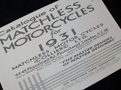 Matchless Motorcycle 1931 Sales Brochure