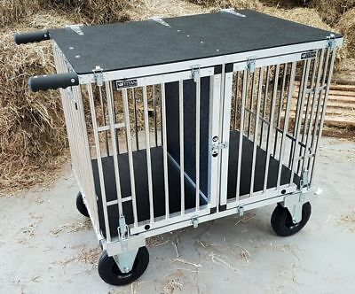 "Titan MIDI Aluminium Dog Show Trolley - 2 Berth with 8"" All Terrain Wheels"