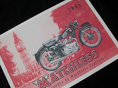 MATCHLESS MOTORCYCLE 1953 SALES BROCHURE Models G3, G9 & G80