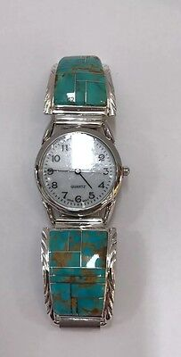 Native American Sterling Silver Navajo Turquoise inlay Men's Watch