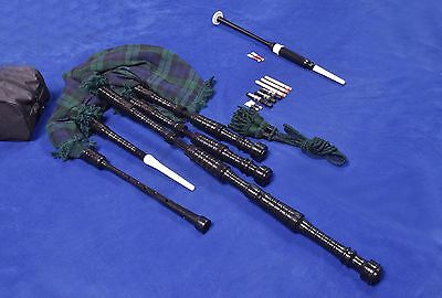 Full Size Bagpipe Rosewood Black Color with Free carrying case