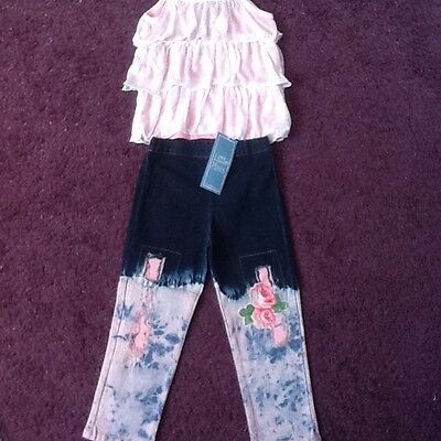 Little Mass top and Jean leggings set size 6 years