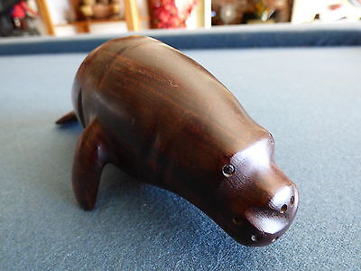 Aquatic Manatee Natural Carved Wood Figurine Tabletop Decor Signed Offers OK