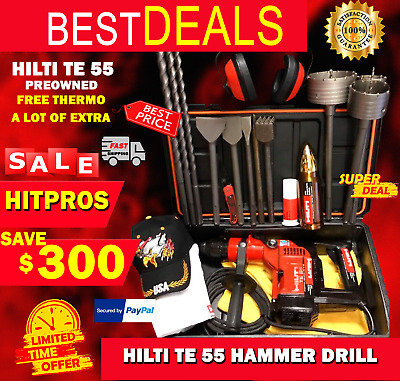 Hilti Te 55 Hammer Drill, Preowned, Free Thermo, A Lot Of Extras, Fast Ship