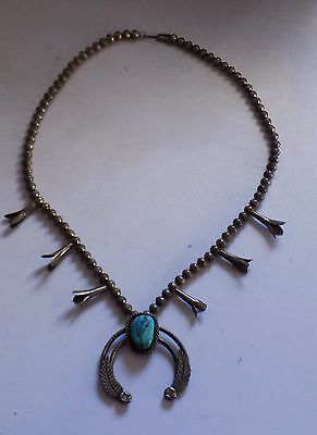 Antique Silver Native American Necklace Large With Blue Stone Very Old Stunning!