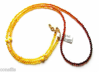 """Natural Baltic amber chain for glasses """"Rainbow"""", glasses chain from amber beads"""