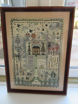 Beautiful Large Framed House & Garden Wool Sampler Dated 2002 Initials A & L