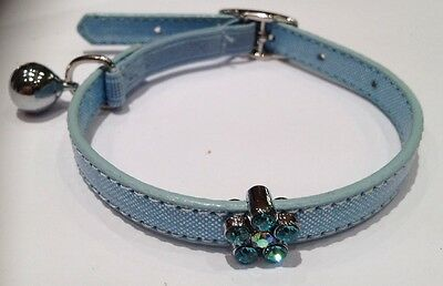 Sparkly Blue Diamante Flower Cat Puppy Collar Elasticated Small New (32cm long)