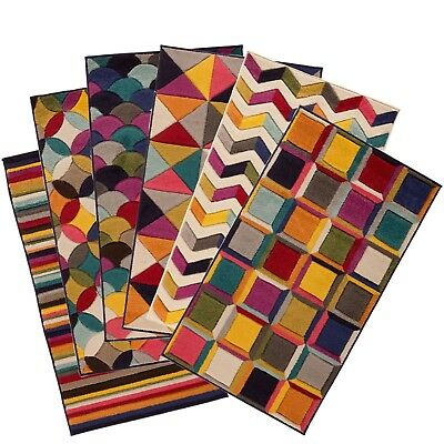 Multi colour Rug Prismatic Soft Spectrum Funky Multicoloured rugs small to Large