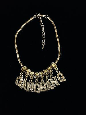 Combo Gold Crystal Letter Charm Anklet Swinger Hotwife BBC Slut Queen Of Spades
