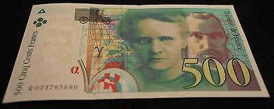 1994 France 500 Cents Francs Bank Note in Fine Condition Extremely Nice  Note!