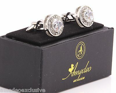 Amedeo Exclusive Mens Cufflinks Silver Crystal Stone Wedding Cuff Links