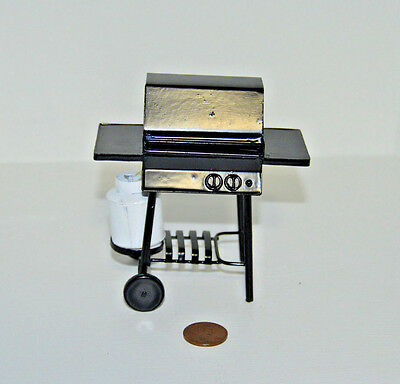 Miniature Barbecue Grill with Propane Tank in 1:12 scale