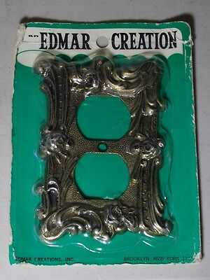 OUTLET PLATE Edmar USA 60D Vintage NOS mid century brass tone pewter metal