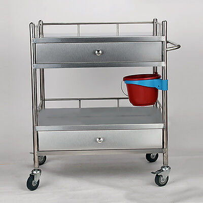 Serving Unique Medical Dental Cart Trolley 2 Layers 2 Long Drawer Portable UC913