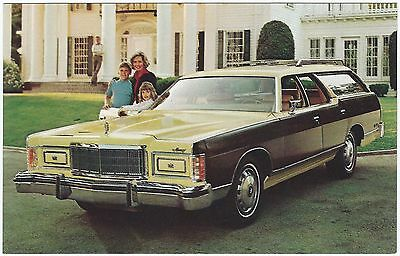 "1975 Mercury COLONY PARK STATION WAGON ""Woodie"" Dealer Promo Postcard UNUSED Ex"