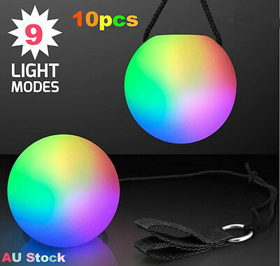 10 xColorful LED Glow POI Thrown Balls Light Up For Belly Dance Level Hand Props