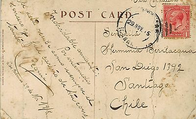 UK 1915 Postcard Spain Las Palmas Canarias to Chile