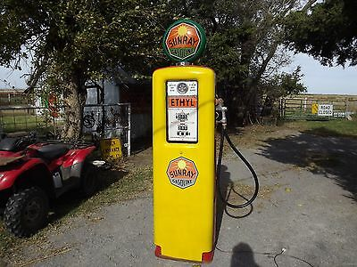 """Vintage SUNRAY GASOLINE """"Ethyl"""" Erie Electric Gas Pump PRICE REDUCED!"""