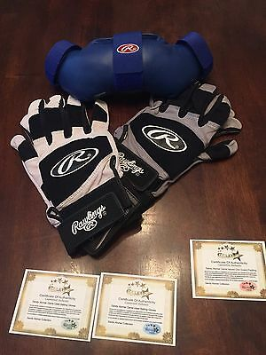 Sandy Alomar Jr Indians Rangers GAME USED BATTING GLOVES MLB ALL STAR ROY Chin