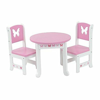 Emily Rose Doll Clothes 18 Inch Doll Furniture | Lovely Pink and White Table and