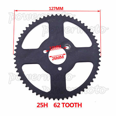 25H 62 Tooth Rear Chain Sprocket Fit Chinese 47cc 49cc Dirt Pocket Bike MiniMoto