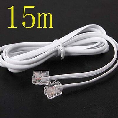 High Speed 15m 45ft RJ11 Telephone Phone ADSL Modem Line Cord Cable