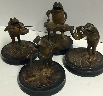 Vintage Collectible Frog Figurine Orchestra Wrough Iron India Percusion