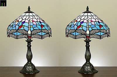 Pair of Two Tiffany Blue Dragonfly Stained Glass Table Lamps Light Leadlight